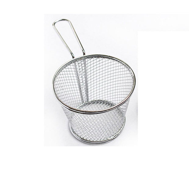 Round Stainless Steel French Fries Basket Fried Sieves Oil Leakage Food Box New