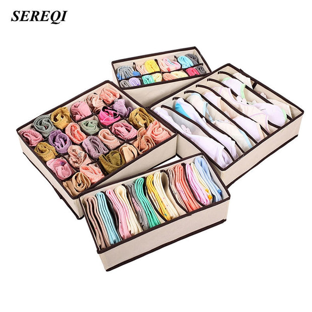 SEREQI 4 PCS Beige Home Storage Supply Storage Box Ties Socks Shorts Bra Underwear Storage Bins Cube Divider Closet Organizer