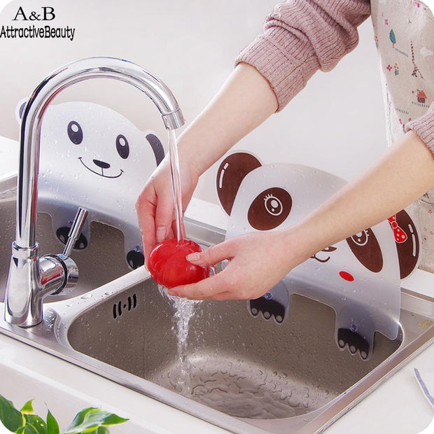 Shape Cute Kitchen Sink Water Splash Proof Retaining Plate With Sucker Baffle