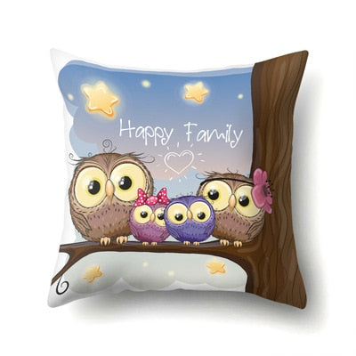 Simple High Quality Cute Owl Pillow Case Pink Printing For Dyeing Bed Home And Christmas Gift 45*45cm