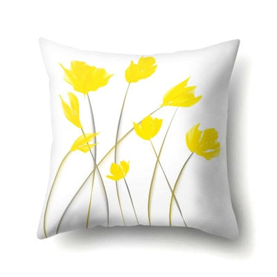 Simple Yellow Sketch Natural Scenery Flowers Pillowcases Dreamy Pillow Cover Throw Christmas Gifts New 45*45cm