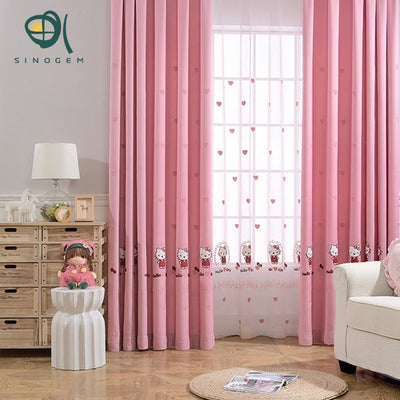 Sinogem Korean Cartoon Style Pink Cartoon Kitty Cat Blackout Curtains For Living Room Baby Room Cotton Linen Sheer Curtains
