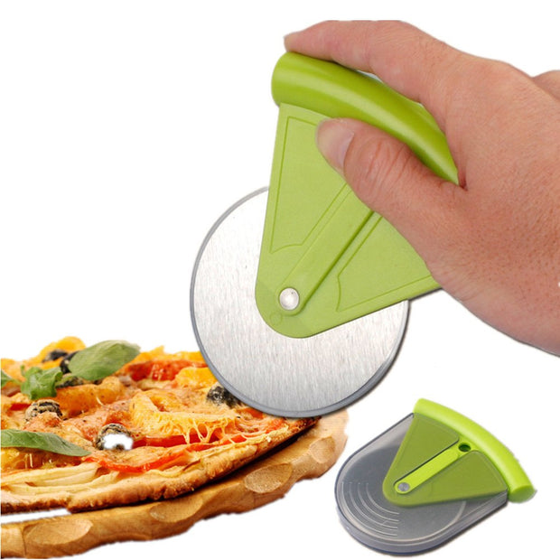 Small Stainless Steel Pizza Wheel Cutter Slicer Knife With ABS Cover Kitchen Aid Pie Cake Tools