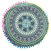 Smiry New Product Cushion Cover Hippie Bohemian Tassel Paisley Mandala Style Round Pillow Cover Polyester Pillowcase