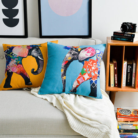 Southeast Asian Ethnic Exotic Pillowcase Flower Color Elephant Cushion Decorative Pillow Home Decor Sofa Throw Pillows 45*45