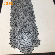 Special Black Lace Tablecloth Table Runner Fireplace Mantel Scarf Polyester 20 *80 Inch Black Halloween Decor Haunted House