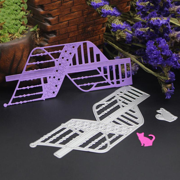 Spiral Stairs Cat Metal Cutting Dies Stencils For DIY Scrapbooking Christmas Party Card Decor Paper Card Craft Embossing Folder