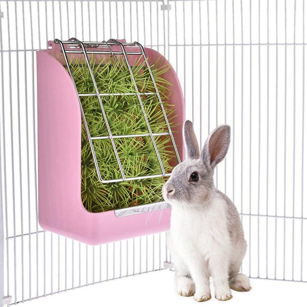 Spring Straw Frame Rabbit Grass Feeder Grass Basket Small Pet Guinea Pig Totoro Cage Accessories Fixed Food Container Bowl Pin
