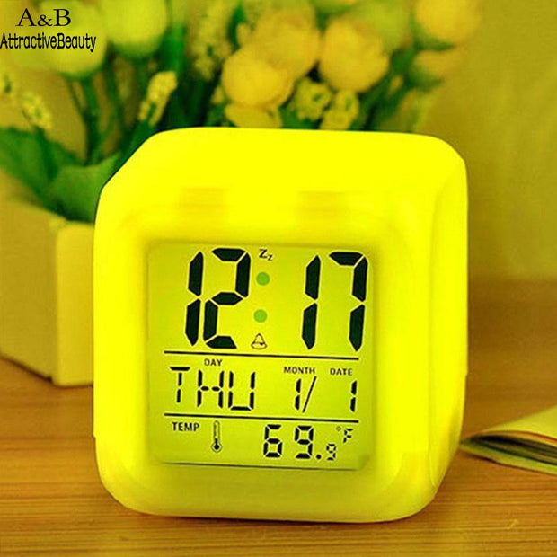 Square Desk Alarm Room Digital Clock Office Table Battery Living Shape Office Bedroom Study Thermometer Luminous Home