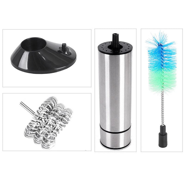 Stainless Steel Handheld Electric Milk Frothers 3-Spring Whisk Head Milk Frother With Base Cleaning Brush