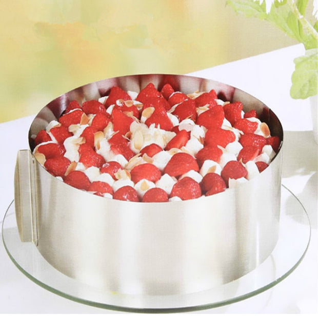 Stainless Steel Adjustable Cake Ring Expandable Round Mousse Circle Kitchen Baking Mold 6-12 Inch Convenient Home Cake Gadget