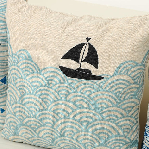 Summer Style Mediterranean Pillowcase Sea Fish Printed Square Cushion Decorative Pillow Cushions Home Decor Throw Pillow 45*45