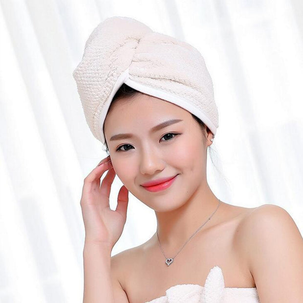 Super Absorbent Quick-drying Hair Dry Cap Women's Microfiber Bathroom Towel Double-sided Thickening Solid Color Salon Towel
