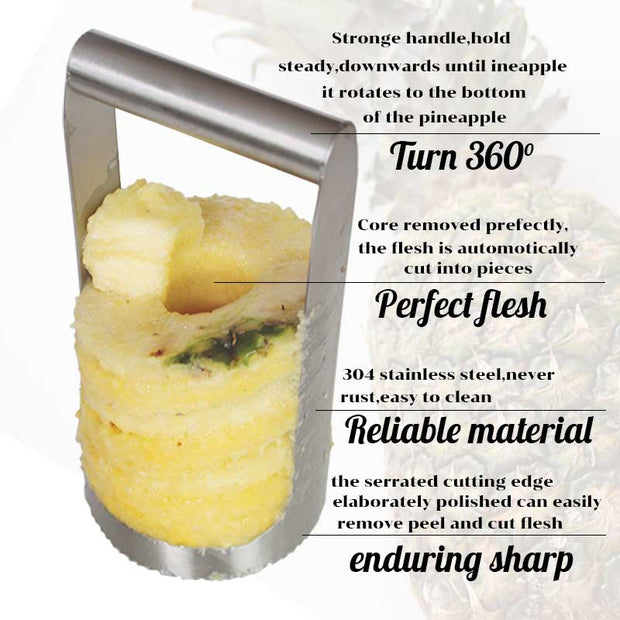 TEENRA Pineapple Slicer Stainless Steel Pineapple Cutter And Corer Pineapple Slicer Peeler Corer Fruit Knife Vegetable Tools