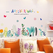Tofok Artistic Flowers Skirting Line Wall Stickers Children Room Nursery Class Room Decoration Wall Decals PVC Removable Sticker
