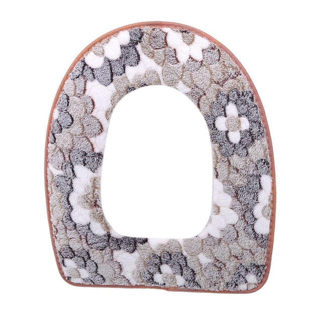 Toilet Seat Cover Comfortable Soft Flannel Toilet Seats Pad Thicken Warmer Waterproof Zipper Toilet Cover Bathroom Accessories