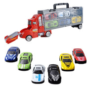 Toy Truck Car Storage Containers With 6 Alloy Sedan Car Catapult Fight Cargo Truck Model Cars Portable Storage Box For Kids Boys