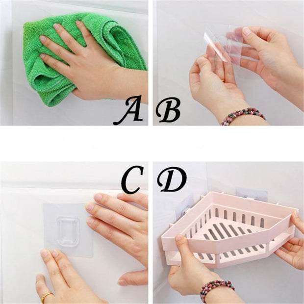 Traceless Plastic Bathroom Kitchen Corner Storage Rack Organizer Shower Shelf Corner Storage Rack Kitchen Sucker Organizer