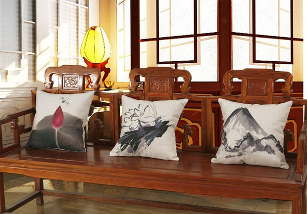 Traditional Chinese Printed Pillowcase Ink Lotus And Landscape Cushion Decorative Pillow Cushions Home Decor Throw Pillow 45*45