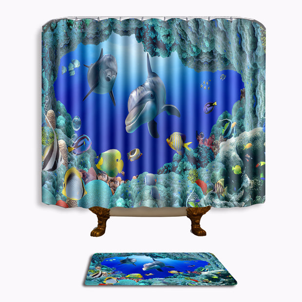 Two-piece Suit Bath Mat And Shower Curtain Set Ocean Scenery Bathroom Carpet For Toilet Christmas For Home Decor Whale Foot Pad