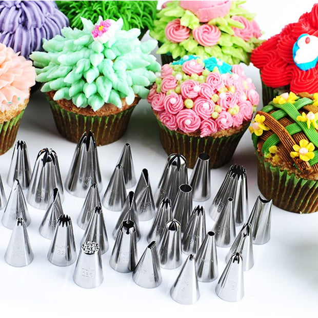 Unibird 42Pcs/Set Stainless Steel Icing Piping Nozzles For Cream Cake Decorating Tips Pastry Mouth DIY Cake Flower Baking Tool