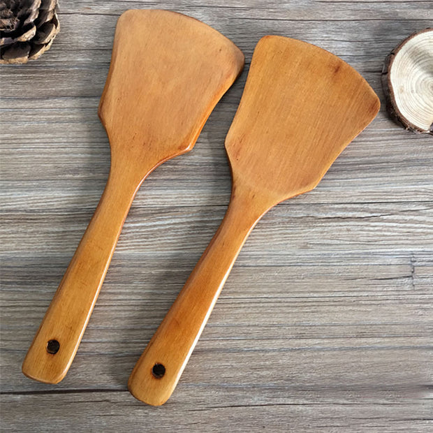 Upspirit Wood Spatula Turner Hanging Hole Unique Design Shovel Heat-resistant Non-Stick Cooking Tools Kitchen Accessories