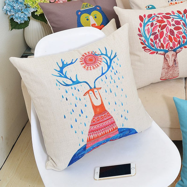 Vintage Cartoon Printed Pillowcase Luxury Sofa Cusions Decorative Pillow Home Decor Throw Pillow Almofadas 45*45