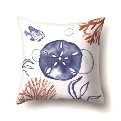 Vintage Simple Pillowcase Seahorse Shell Crab Lotus Leaf Pillow Cover Throw Pillowcases 45*45cm Christmas Gifts