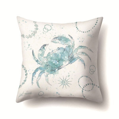 Vintage Simple Pillowcase Seahorse Shell Tortoise Starfish Blue Pillow Cover Throw Pillowcases 45*45cm Christmas Gifts