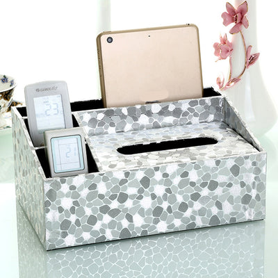 Vintage Tissue Box Napkin Holder PU Leather Tissue Boxes Cover Phone Holder Case Home Storage Organizer Decor Decoracion Hogar