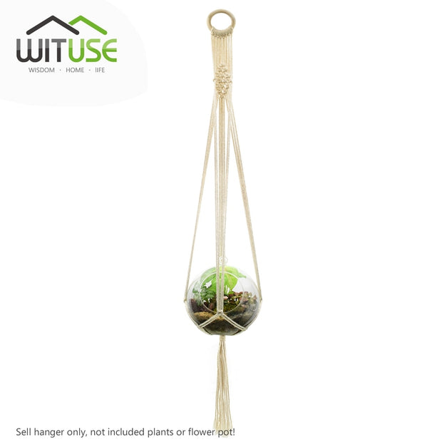 WITUSE Cheap! 5 Legs Macrame Plant Hanger Wall Art Pure Handmade Cotton Rope Pot Holder Round Ring
