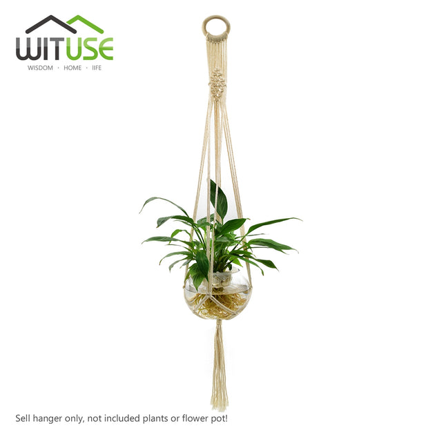 WITUSE Cheap! 5 Legs Macrame Plant Hanger Wall Art Round Ring Indoor Elegant Bohimian Home Decor Pure Cotton Wood