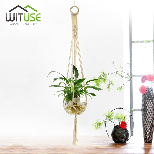 WITUSE Promotion!Vintage Knotted Plant Hanger Basket Green Flowerpot Macrame Lifting Rope Plant Hanger Pot Holder Garden Hanging
