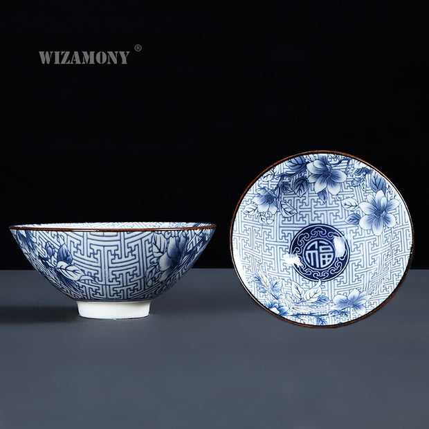 WIZAMONY Drinkware Bue And White Chinese Porcelain Tea Bowl For Puer Teacup Tea Set Ceramic Atique Glaze Kung Fu Tea Master Cup