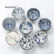 WIZAMONY Drinkware Chinese Kung Fu Tea Set Teacup Cups Handpainted Blue And White Ceramic Porcelain For Puer Oolong Tea