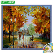 Walking In The Rain DIY Diamond Painting Scenery Flowers Full Square Diamond Embroidery Landscape Tree Mosaic Crystals Paintings