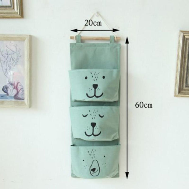 Wall Hanging Storage Bag 3 Pocket Linen Wall Mounted Wardrobe Closet Hang Bag Wall Pouch Sundries Cosmetics Kids Toys Organizer