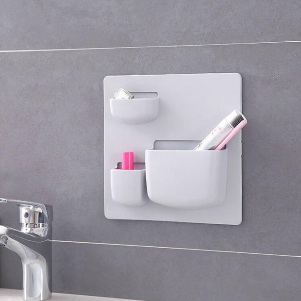Wall Sticking Bathroom Organizer Hanging 3 Grid Bathroom Storage Free Punching Household Items Stacks Shower Organizer