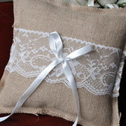 Wedding Ring Pillow Cushion Vintage Burlap Lace Decoration For Bridal Party Ceremony Pocket 2018ing