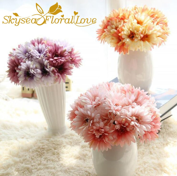 Wedding Bouquet Sunflowers Bride Bouquet Artificial Flowers 7 Heads Wedding Flowers Home Decoration
