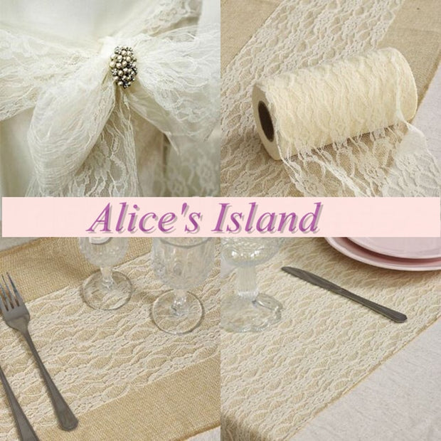 "White 6"" X25 YD Lace Roll Spool Fabric Ribbon For DIY Wedding Event Party Chair Sash Bow Table Runner Decoration Favors"