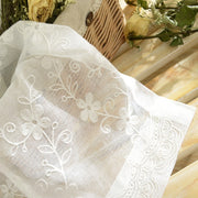 White Pastoral Floral Embroidered Cotton And Linen Voile For Living Room Bay Window Finished Curtain Bedroom Tulle