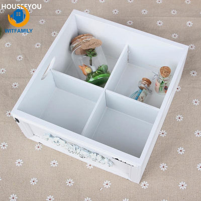White Storage Boxes & Bins Makeup Organizer Wooden Box Zakka Vintage Handmade Carved Flower Decorative Home Storage Supplies