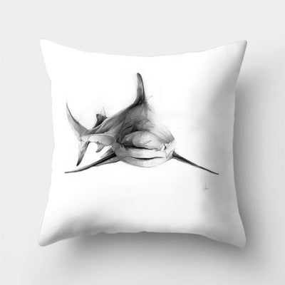White And Black Simple Pillowcase Sketch Elk Shark Skull Pillow Cover Throw Pillowcases 45*45cm Christmas Gifts