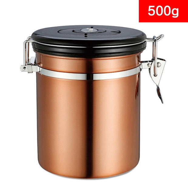 With Exhaust Valve Jar Kitchen Container Food Vacuum Tea Home Storage Sugar Pot Canister Stainless Steel Coffee Bean Sealed Can