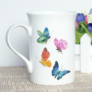 Women Gift Cup For Coffee Tea Milk Cool Design Butterflies And Flowers Printing Mug New Bone China Ceramic Photo Cup Present