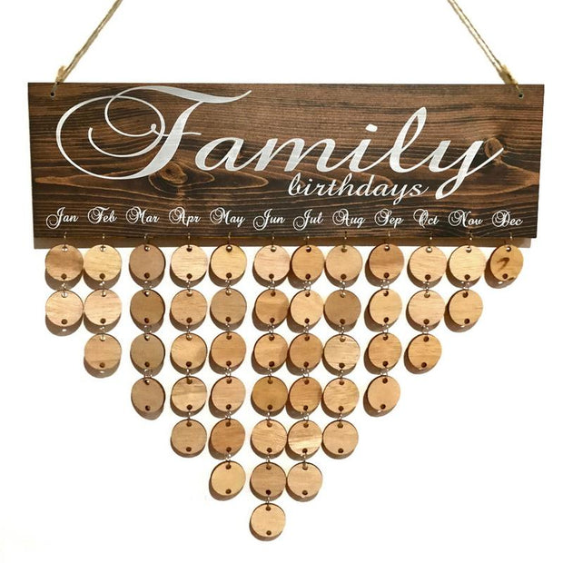 Wooden American Country Style Calendar Listing Family Friends Birthday Reminder Message Board Plaque Wall Hangings