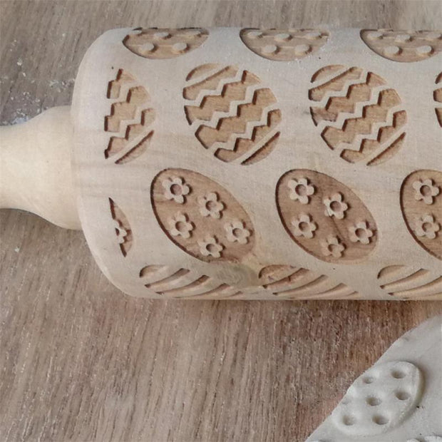 Wooden Easter Egg Print Rolling Pin Solid Wood Embossing Baking Cookies Biscuit Fondant Cake Dough Engraved Roller Pins