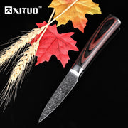 XITUO 7Cr17Mov Steel 3.5inch Fruit Knife Kitchen Utility Knife Beautiful Pattern Very Sharp Life Tools Color Wood Handle Gift
