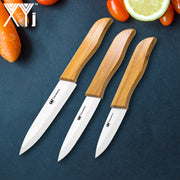 XYJ Brand 3 Piece Set Kitchen Knife 4 Inch Utility 5 Inch Slicing 6 Inch Chef Ceramic Knives Bamboo Handle Cooking Tools